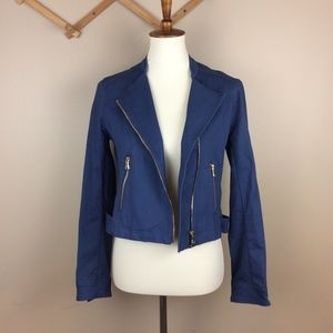 [Maralyn and Me] Blue Twill Moto Jacket